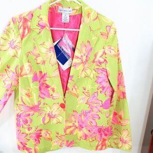 HP💚❣NEW! Spring Green/Pink Floral 1 Button Blazer